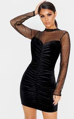 PrettyLittleThing Black Velvet Dobby Mesh Bodice Long Sleeve Bodycon Dress