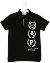 Philipp Plein skull print polo shirt - kids - Cotton - 14 yrs