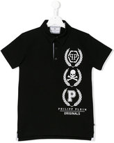 Philipp Plein skull print polo shirt - kids - Cotton - 16 yrs