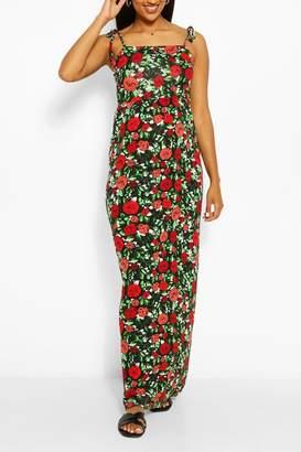 boohoo Maternity Floral Tie Shoulder Maxi Dress