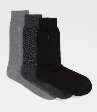 AllSaints Leopard Ramskull 3 Pack Socks