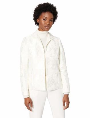 Kasper Women's Petite Wide Lapel Collar Velvet Jacquard Fly Away Jacket