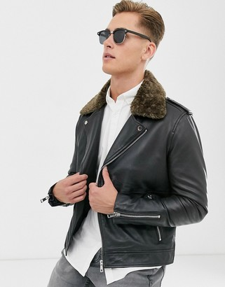 Barneys New York Barneys Originals real leather biker with removable teddy collar-Black