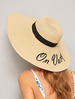 Romwe Letter Embroidery Floppy Hat
