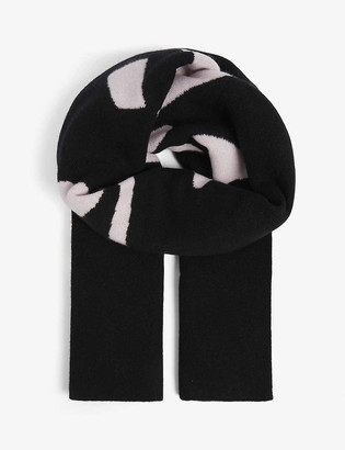 Off-White Logo-intarsia wool scarf