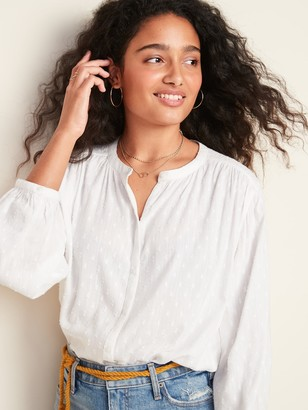 Old Navy Oversized Textured Clip-Dot Button-Down Blouse for Women