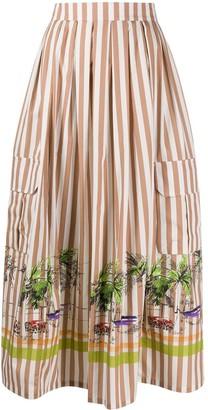 Erika Cavallini Striped Flared Midi Skirt