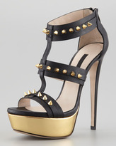 Ruthie Davis Bartley Spiked Gladiator Sandal, Black