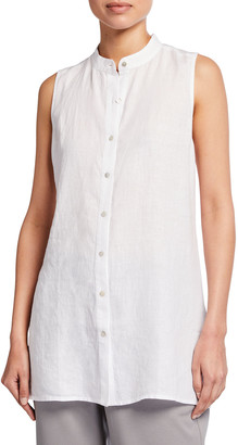 Eileen Fisher Organic Handkerchief Linen Mandarin-Collar Sleeveless Shirt