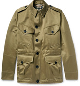 Burberry Cotton Satin-Twill Field Jacket with Detachable Wool-Blend Liner