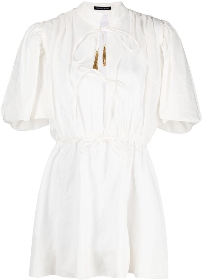Summer dress White Midi Kaftan Midi dress,Loungewear CG0345 Light Gray Cotton Dress V Neck decoration with Lace,Cotton dress,White Tonic