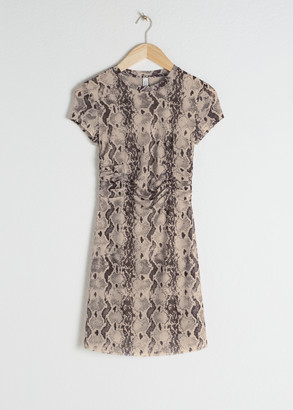 And other stories Ruched Snake Print T-Shirt Dress