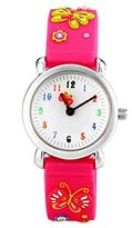 Jewtme Watch Rose Red Silicone Environmentally Friendly Materials Band Butterfly Children Cartoon Watch