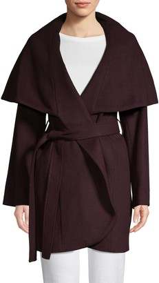 T Tahari Marla Wool Blend Oversized Collar Wrap Coat