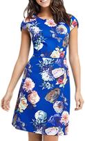 Oasis Rose Short Sleeve Shift Dress, Multi/Blue