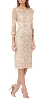 JS Collections Sheer Sleeve Soutache Cocktail Dress