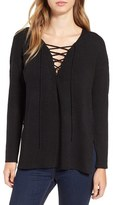 Astr Women's Lace-Up Sweater