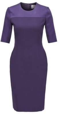 BOSS Cropped-sleeved dress in stretch virgin wool