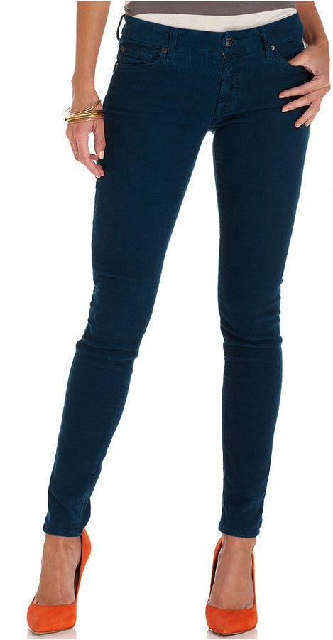 7 For All Mankind Jeans, Corduroy Skinny Dark Blue