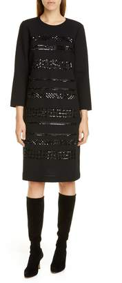 Lafayette 148 New York Giovanetta Sequin Stripe Wool Shift Dress