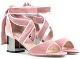 Valentino Garavani Rockstud Ballet Velvet Sandals