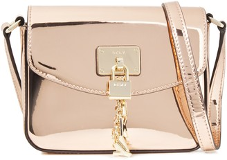 DKNY Embellished Faux Mirrored-leather Shoulder Bag