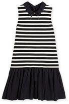 Kate Spade Sleeveless Striped Ponte & Pebbled Crepe Shift Dress, Black/White, Size 7-14