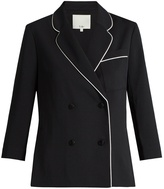 Tibi Contrast-seam double-breasted blazer