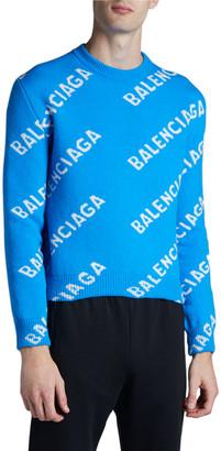 Balenciaga Men's Logo Intarsia Crewneck Sweater