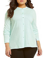 Eileen Fisher Plus Mandarin Collar Long Sleeve Button Front Shirt