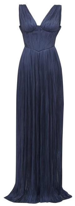 Maria Lucia Hohan Elysia Plisse Silk Tulle Maxi Dress - Womens - Navy