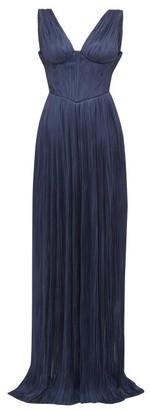 Maria Lucia Hohan Elysia Plisse Silk-tulle Maxi Dress - Navy
