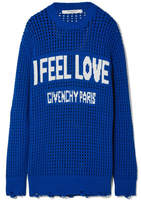 Givenchy Oversized Distressed Intarsia Crocheted Cotton Sweater - Bright blue