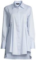 Donna Karan Textured High-Low Flare Button-Front Shirt