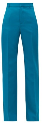 Balenciaga High-rise Tailored Straight-leg Twill Trousers - Womens - Blue