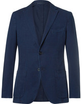 Officine Generale Blue Slim-fit Cotton-seersucker Suit Jacket