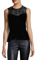 Rebecca Taylor High-Neck Sleeveless Velvet Top