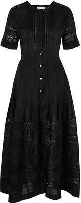 LoveShackFancy Edie black cotton midi dress