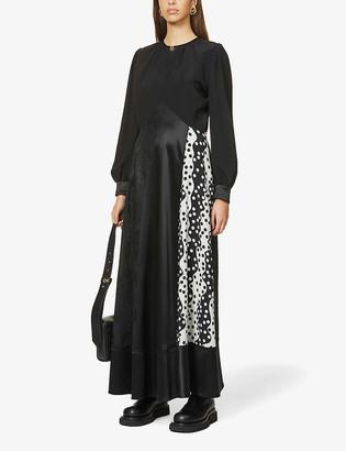 Ports 1961 Contrast-panel wool-blend maxi dress