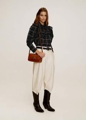 MANGO Ruffled cotton blouse black - 4 - Women