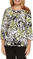 Alfred Dunner Casual Friday 3/4 Sleeve Print Top
