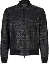 Emporio Armani Embossed Letter Leather Bomber Jacket