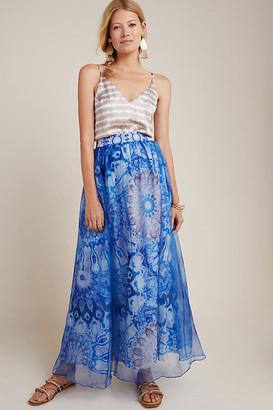 Swetha Silk Maxi Skirt By Siddhartha Bansal in Blue Size XS