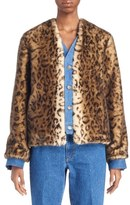 Toga Leopard Print Faux Fur & Denim Jacket