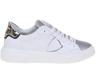 Philippe Model Leather Sneakers Temple With Glitter Detail