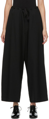 Y's Ys Black Wool Gabardine Wide Flared Trousers