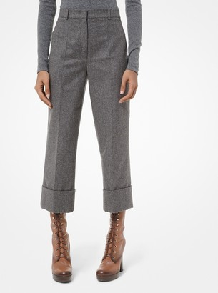 Michael Kors Wool-and-Cashmere Flannel Cropped Cuffed Trousers