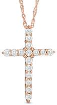 Zales 1/4 CT. T.W. Diamond Cross Pendant in 14K Rose Gold