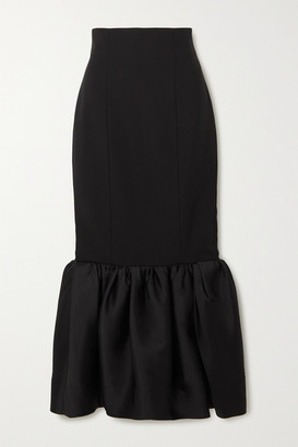 SOLACE London Eska Ruffled Crepe And Satin Maxi Skirt - Black