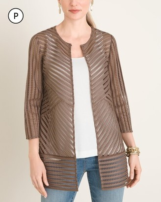 Travelers Collection Petite Neutral Strip Jacket